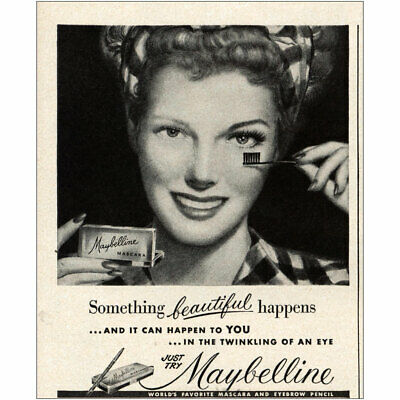 1950 Maybelline: Something Beautiful Happens Vintage Print Ad