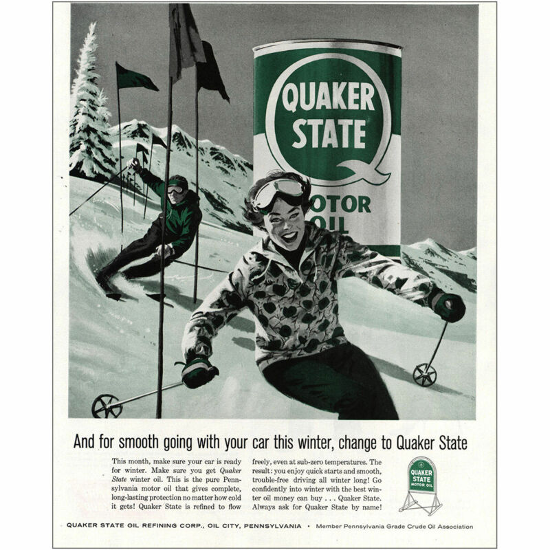1960 Quaker State Oil: Smooth Going With Your Car, Skiers Vintage Print Ad
