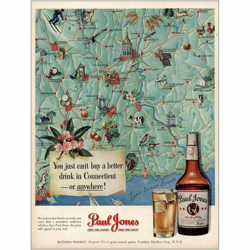 1950 Paul Jones Whiskey: Connecticut Vintage Print Ad
