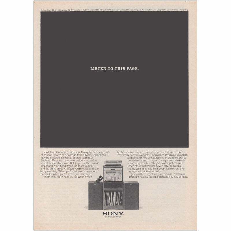 1979 Sony: Listen To This Page Vintage Print Ad