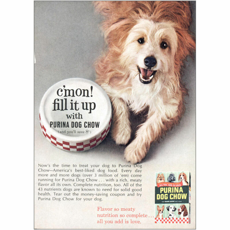 1965 Purina Dog Chow: Cmon Fill It Up Vintage Print Ad