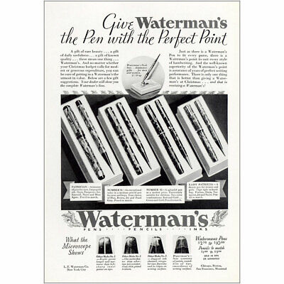 1932 Watermans Pens: Pen With the Perfect Point Vintage Print Ad