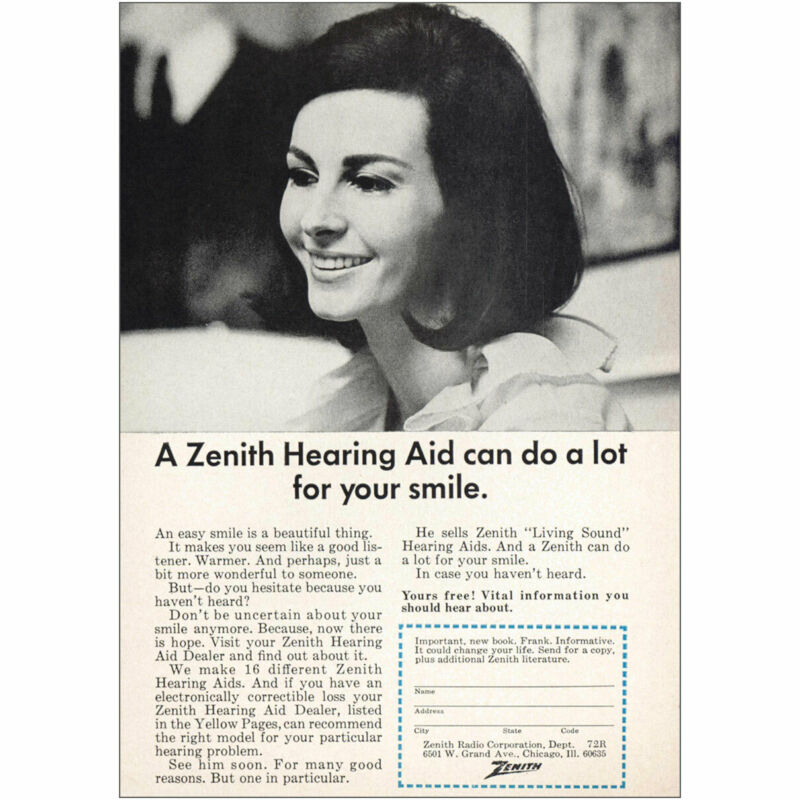 1966 Zenith Hearing Aid: Can Do a Lot For Your Smile Vintage Print Ad