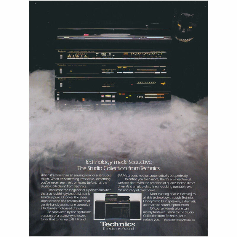 1982 Technics: Technology Made Seductive Black Cat Vintage Print Ad