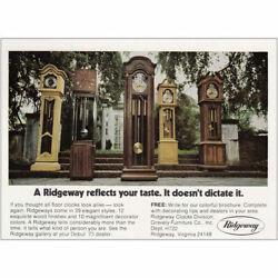 1972 Ridgeway Floor Clocks: Reflects Your Taste Vintage Print Ad