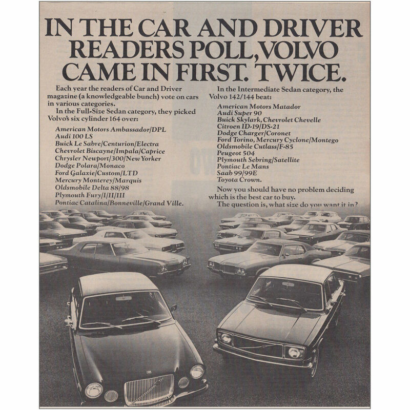 1971 Volvo: Came In First Twice Vintage Print Ad