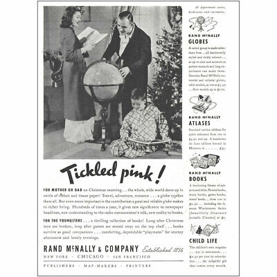 1937 Rand McNally: Tickled Pink Vintage Print Ad