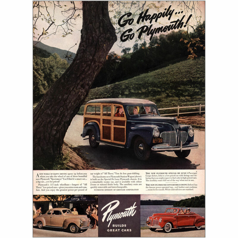 1941 Plymouth: Go Happily Sportsmen Vintage Print Ad