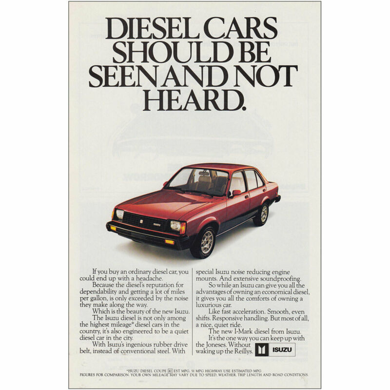 1982 Isuzu: Diesel Cars Should Be Seen and Not Heard Vintage Print Ad
