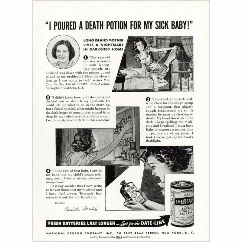 1938 Eveready Batteries: Poured Death Potion Sick Baby Vintage Print Ad