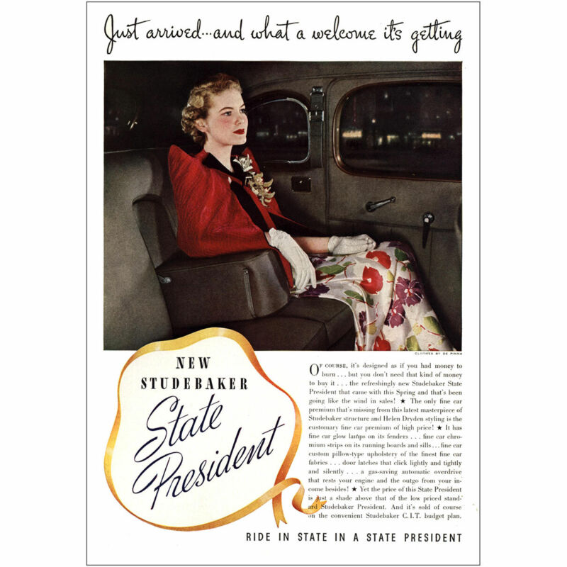1937 Studebaker State President: Just Arrived What a Welcome Vintage Print Ad