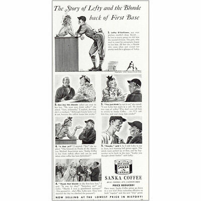 1940 Sanka Coffee: Story of Lefty and the Blonde Vintage Print Ad