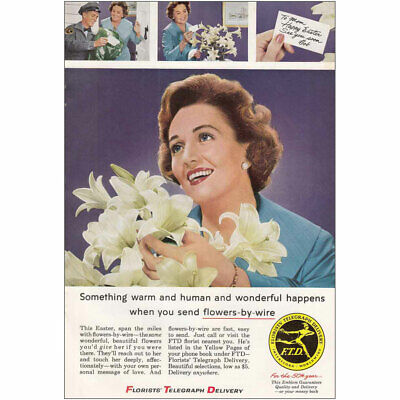 1960 Florists Telegraph Delivery: Easter Lillies Vintage Print Ad