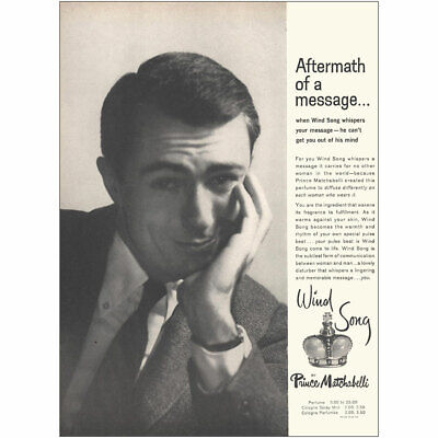 1959 Prince Matchabelli Wind Song: Aftermath of a Message Vintage Print Ad