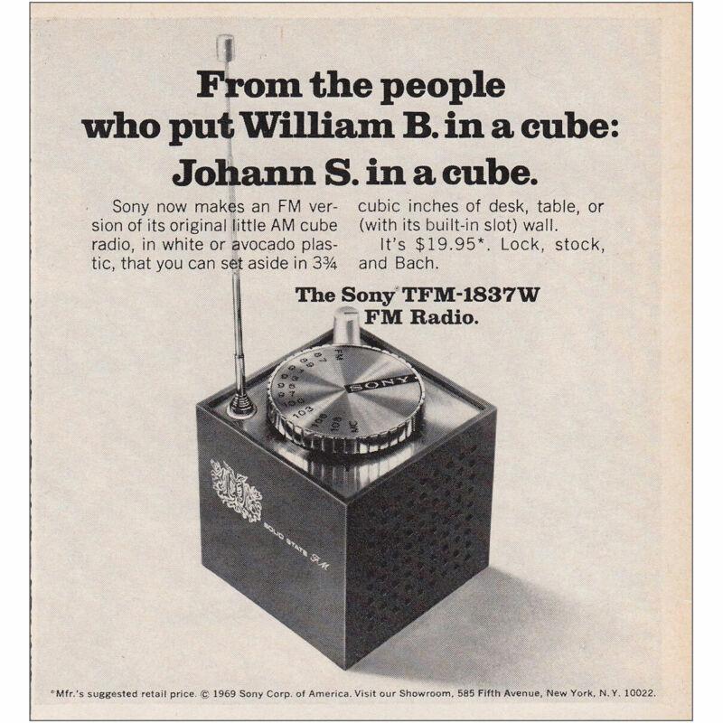 1969 Sony TFM 1837W: Johann S In a Cube Vintage Print Ad