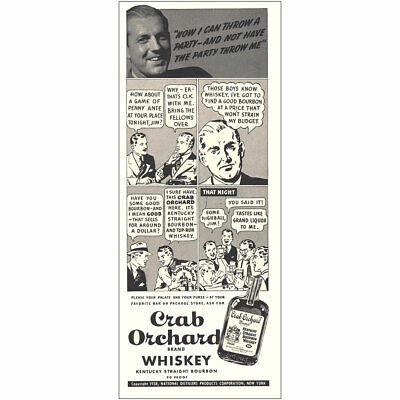 1938 Crab Orchard Whiskey: How Can I Throw a Party Vintage Print Ad