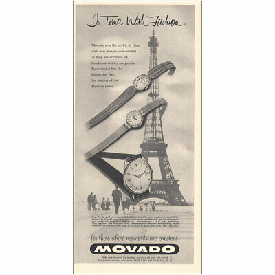 1959 Movado Watch: Eiffel Tower In Time With Fashion Vintage Print Ad