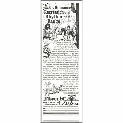 1937 Phoenix Arizona: Romance Recreation Rhythm Range Vintage Print Ad