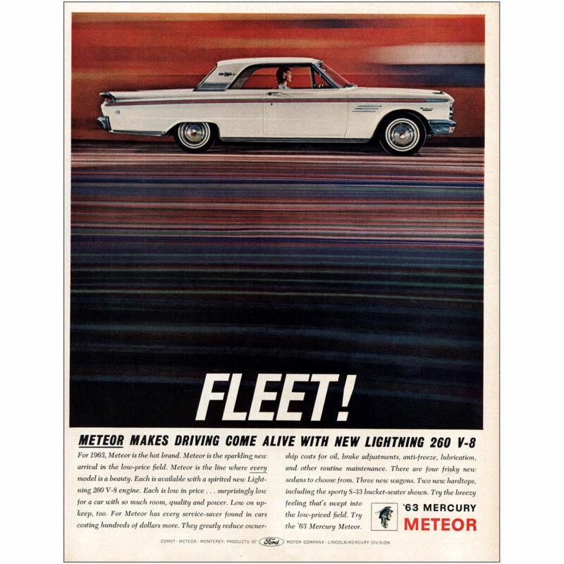 1963 Mercury Meteor: Fleet Lightning 260 V8 Vintage Print Ad
