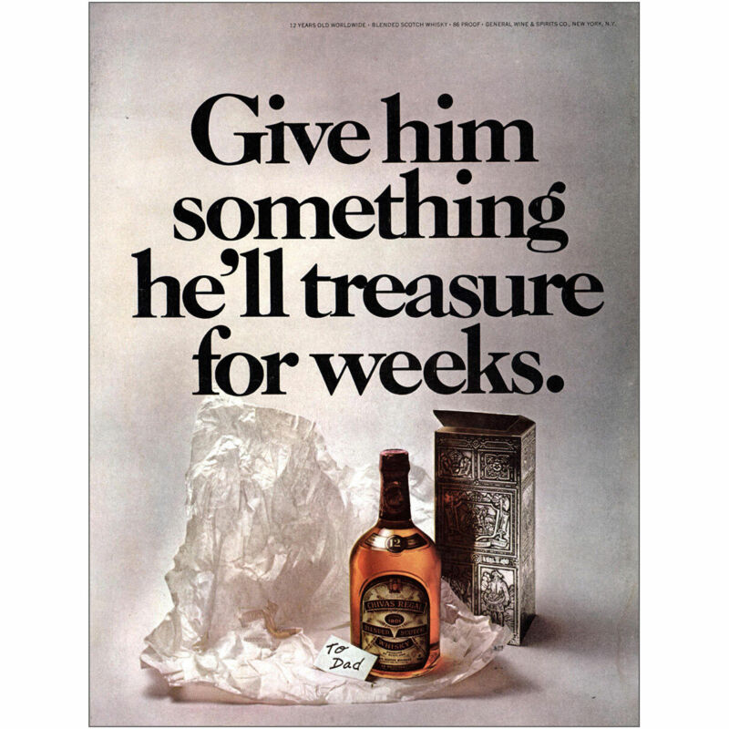 1973 Chivas: Give Him Something Hell Treasure for Weeks Vintage Print Ad