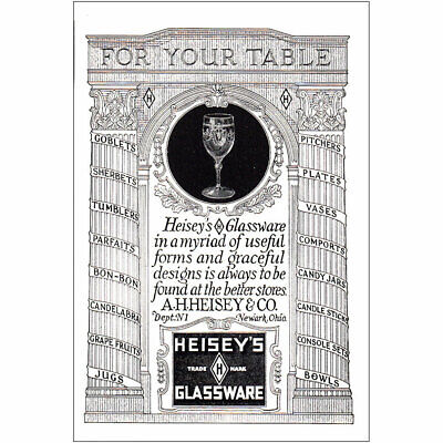 1925 Heiseys Glassware: For Your Table Vintage Print Ad