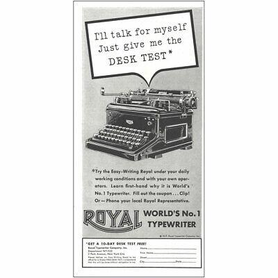 1937 Royal Typewriter: Just Give Me the Desk Test Vintage Print Ad