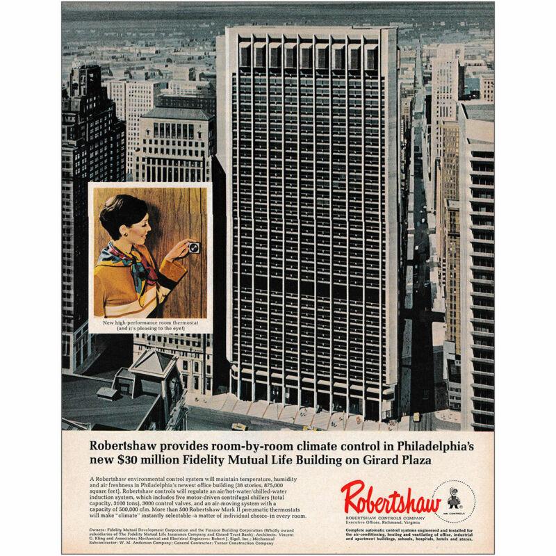 1970 Robertshaw: Fidelity Mutual Life Building on Girard Plaza Vintage Print Ad