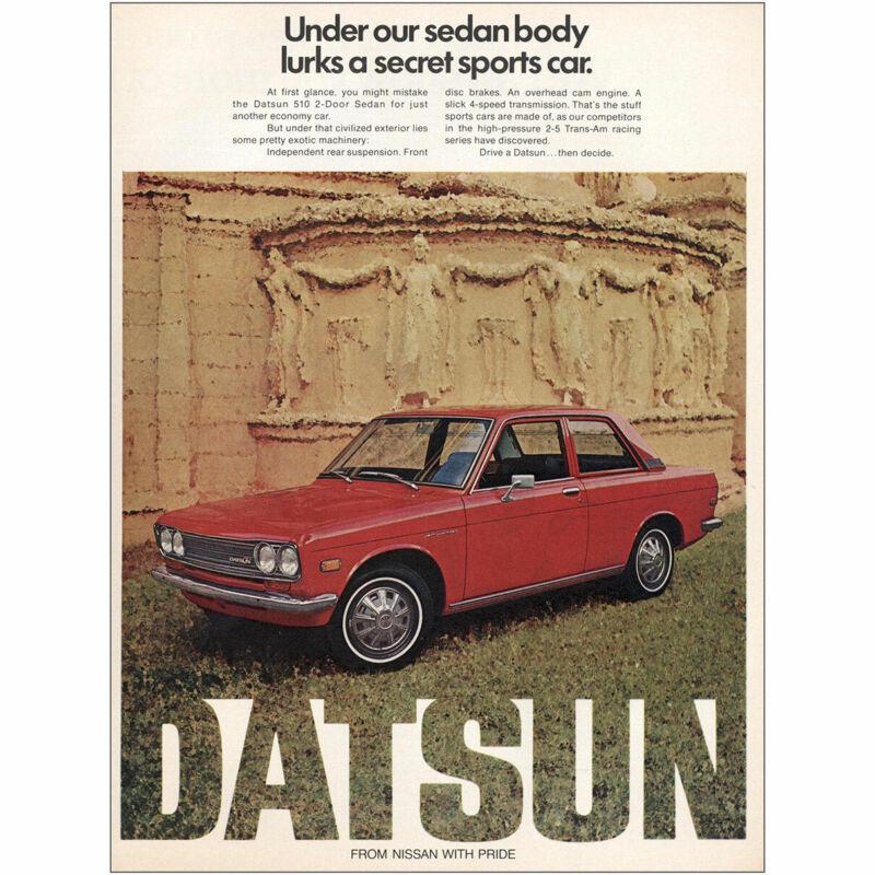 1972 Datsun: Under Our Sedan Body Lurks a Secret Sports Car Vintage Print Ad