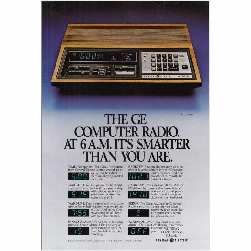 1981 General Electric Computer Radio: Smarter Vintage Print Ad