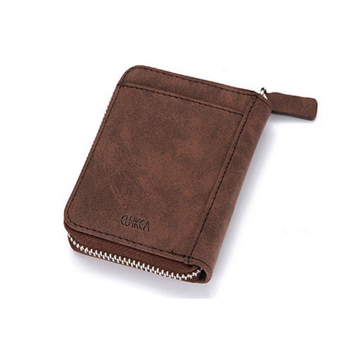 e828581904d6e Antimagnetic RFID Men s Leather Credit Card Short Wallet Holder Coin Zip Bag  EL