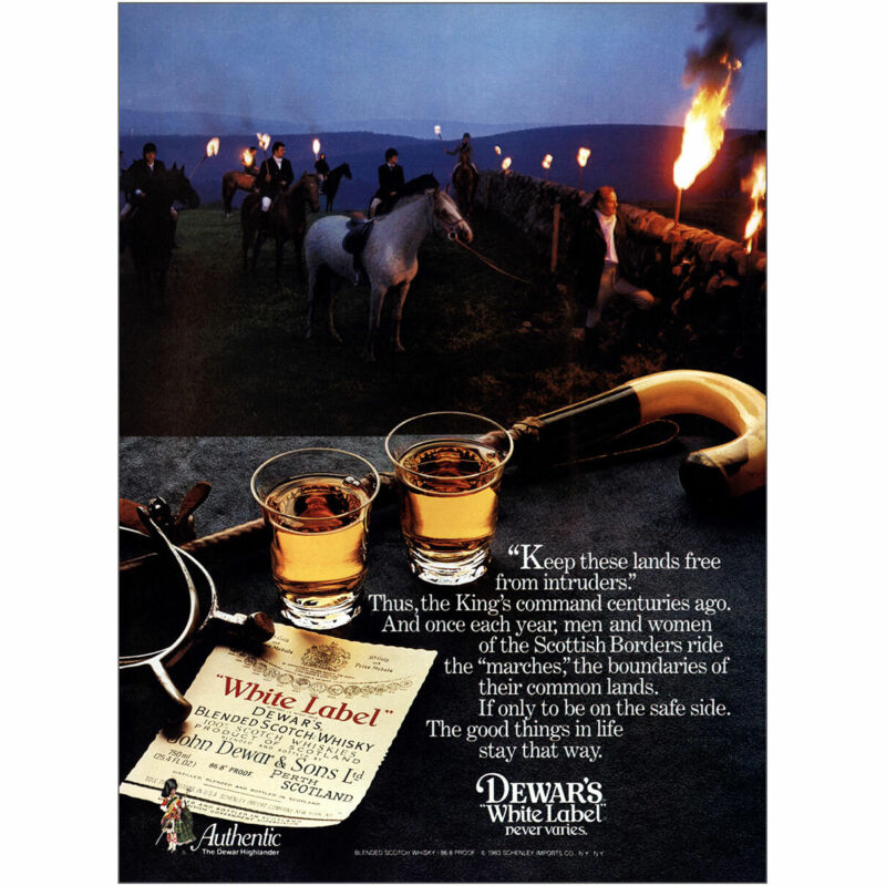 1983 Dewars: Lands Free From Intruders Vintage Print Ad