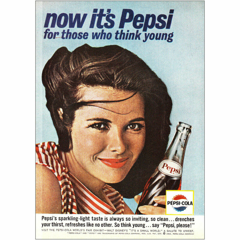 1964 Pepsi Cola: For Those Who Think Young Vintage Print Ad