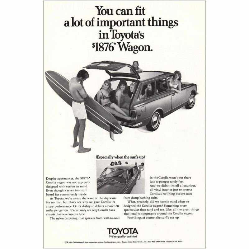 1970 Toyota Wagon: Fit A Lot of Important Things Vintage Print Ad