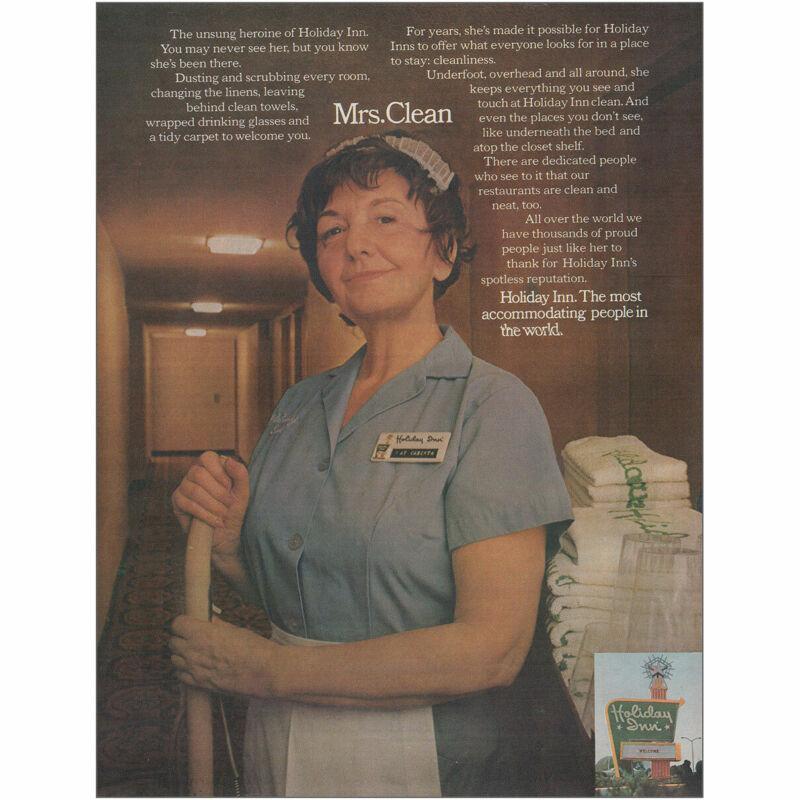 1974 Holiday Inn: Mrs Clean Vintage Print Ad