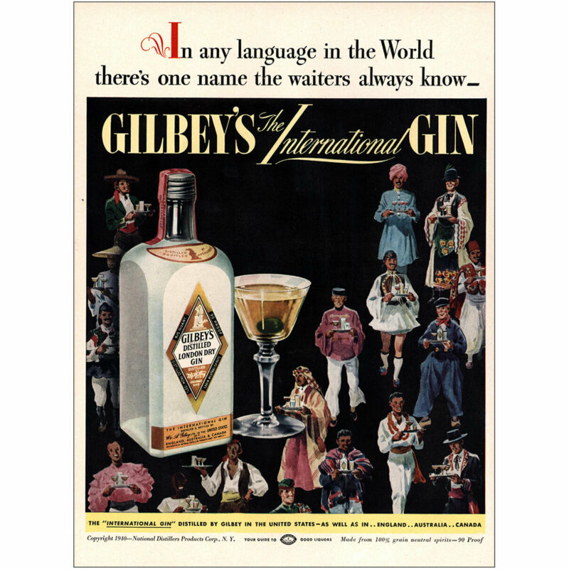 1940 Gilbeys Gin: In Any Language In the World Vintage Print Ad
