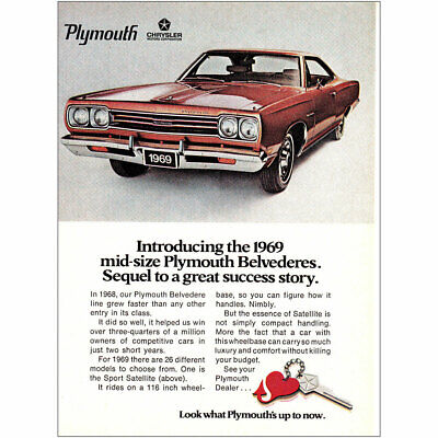 1969 Plymouth Belvedere: Sequel to a Great Success Story Vintage Print Ad