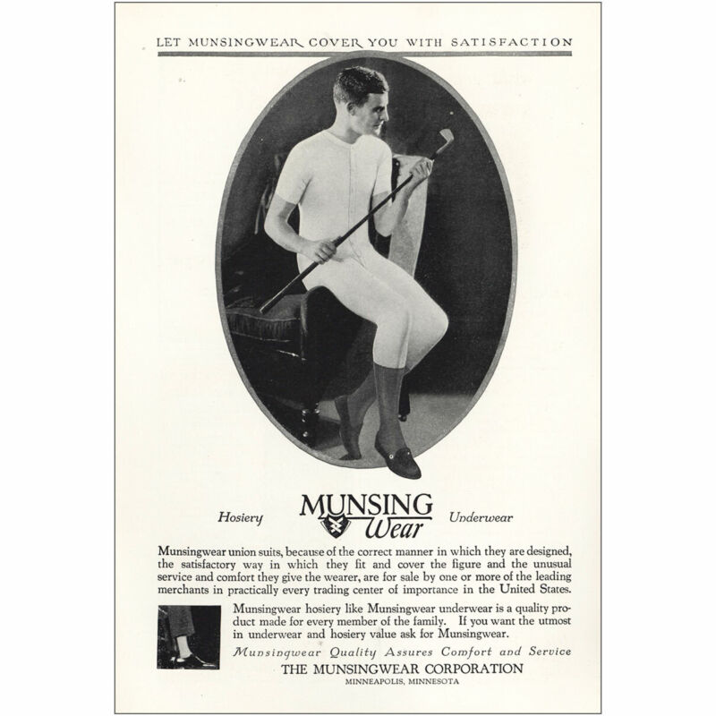 1927 Munsingwear: Union Suits Because of the Correct Manner Vintage Print Ad