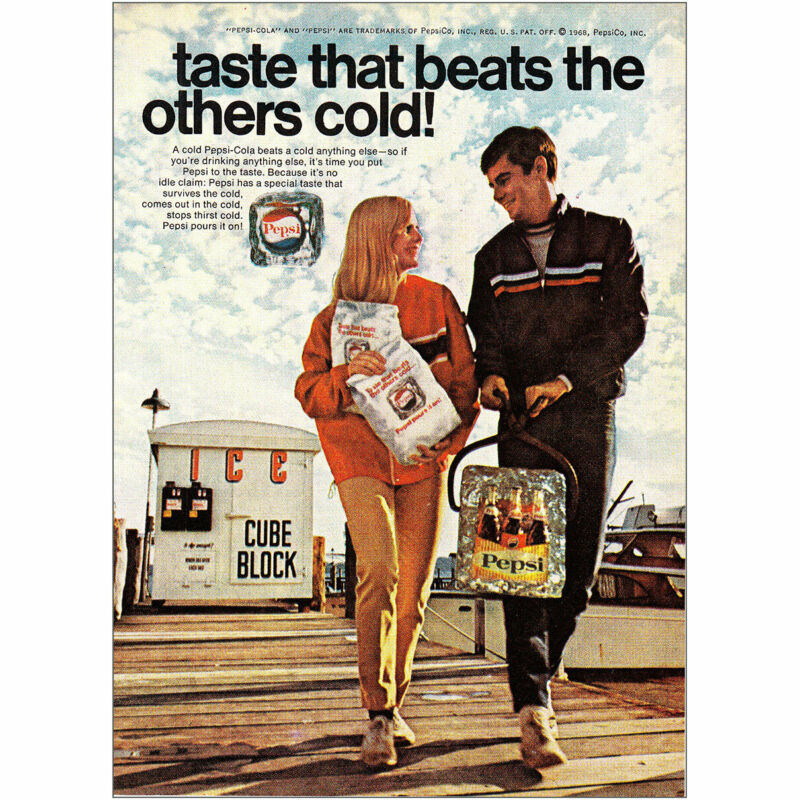 1968 Pepsi Cola: Taste That Beats the Others Cold Cube Block Vintage Print Ad