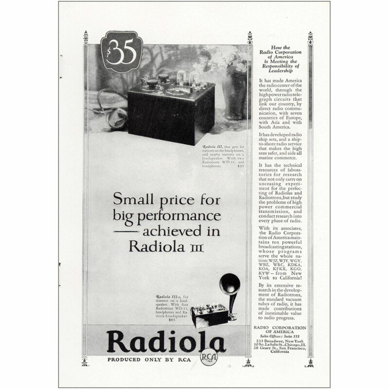 1925 Radiola: Small Price for Big Performance Vintage Print Ad