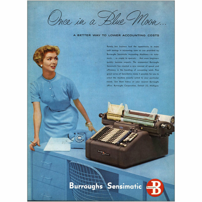 1954 Burroughs Sensimatic: Once In a Blue Moon Vintage Print Ad