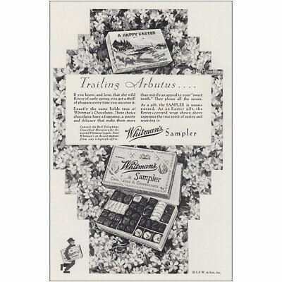 1930 Whitmans Sampler: Happy Easter Trailing Arbutus Vintage Print Ad