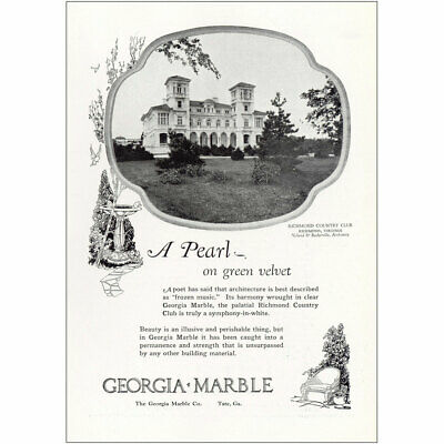 1927 Georgia Marble: Richmond Country Club Pearl Green Velvet Vintage Print Ad