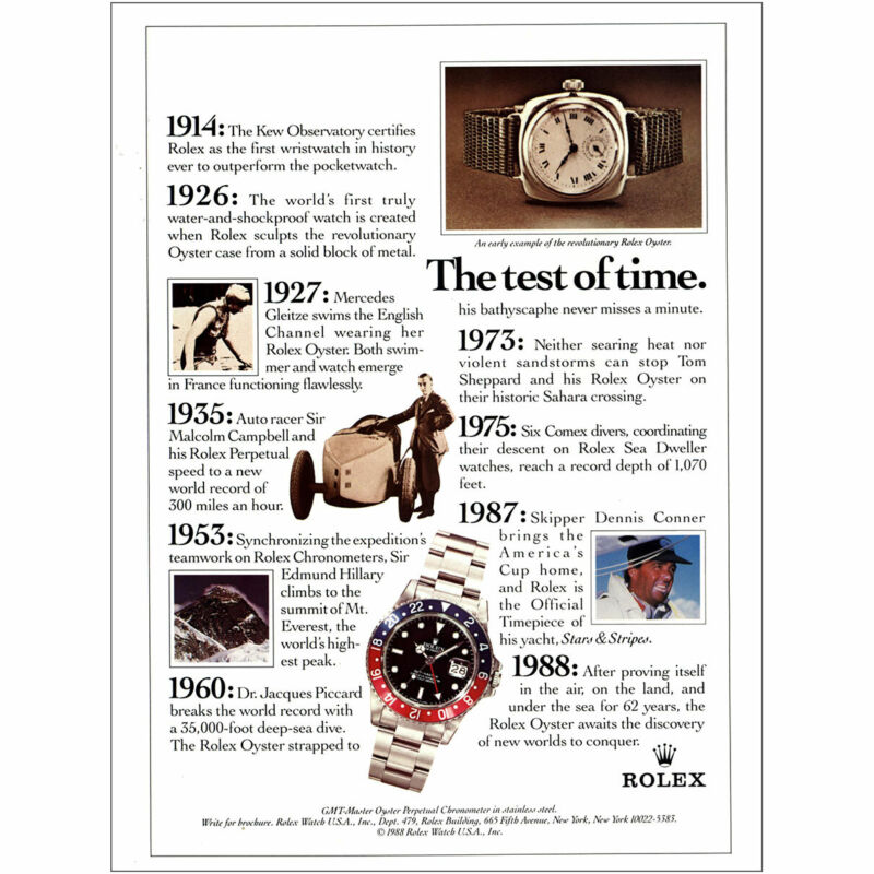 1988 Rolex Watch: The Test of Time Vintage Print Ad