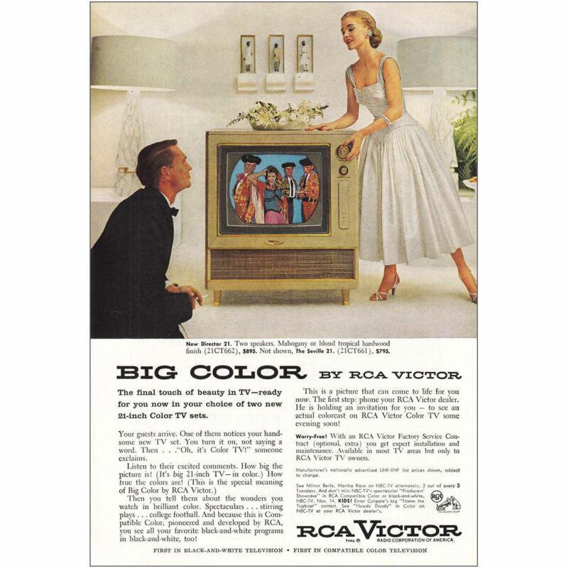 1955 RCA Victor: New Director 21 TV Vintage Print Ad