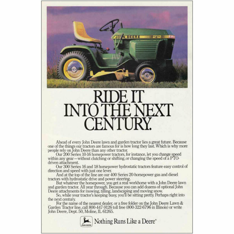 1986 John Deere: Ride It Into The Next Century Vintage Print Ad