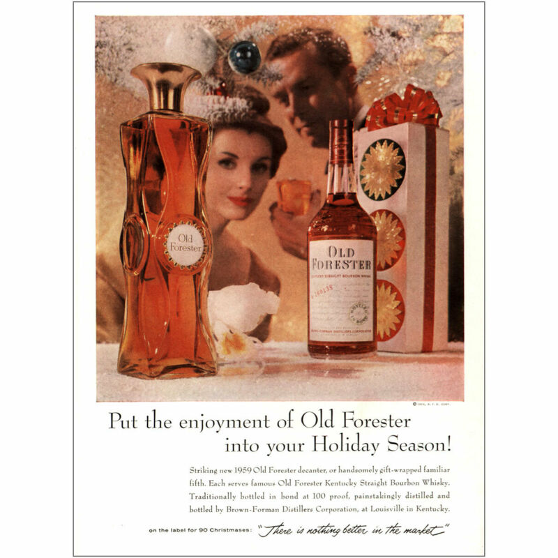 1959 Old Forester: Enjoyment Holiday Season Vintage Print Ad