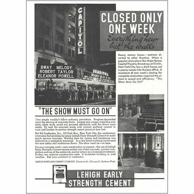1937 Lehigh Portland Cement: The Show Must Go On Vintage Print Ad