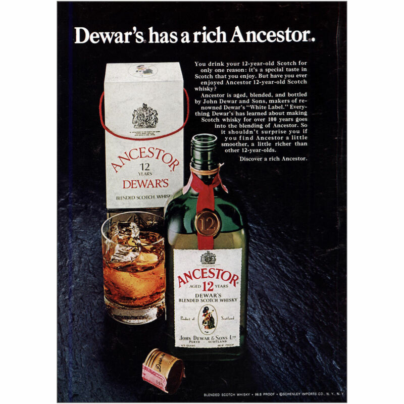 1975 Dewars Scotch Whisky: Has a Rich Ancestor Vintage Print Ad