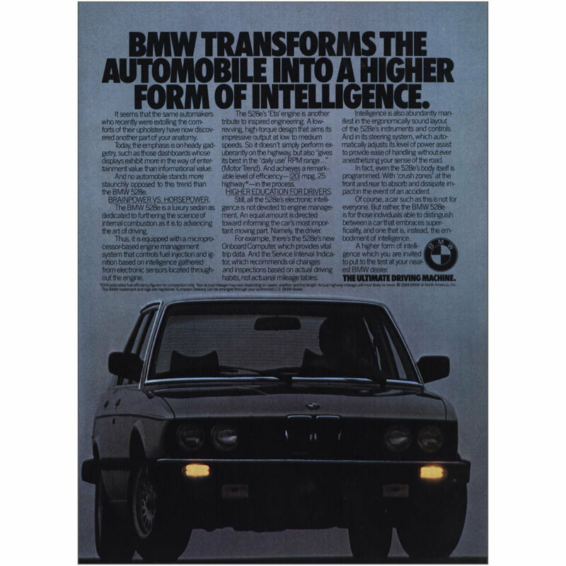 1985 BMW 528e: Transforms Higher Form Of Intelligence Vintage Print Ad