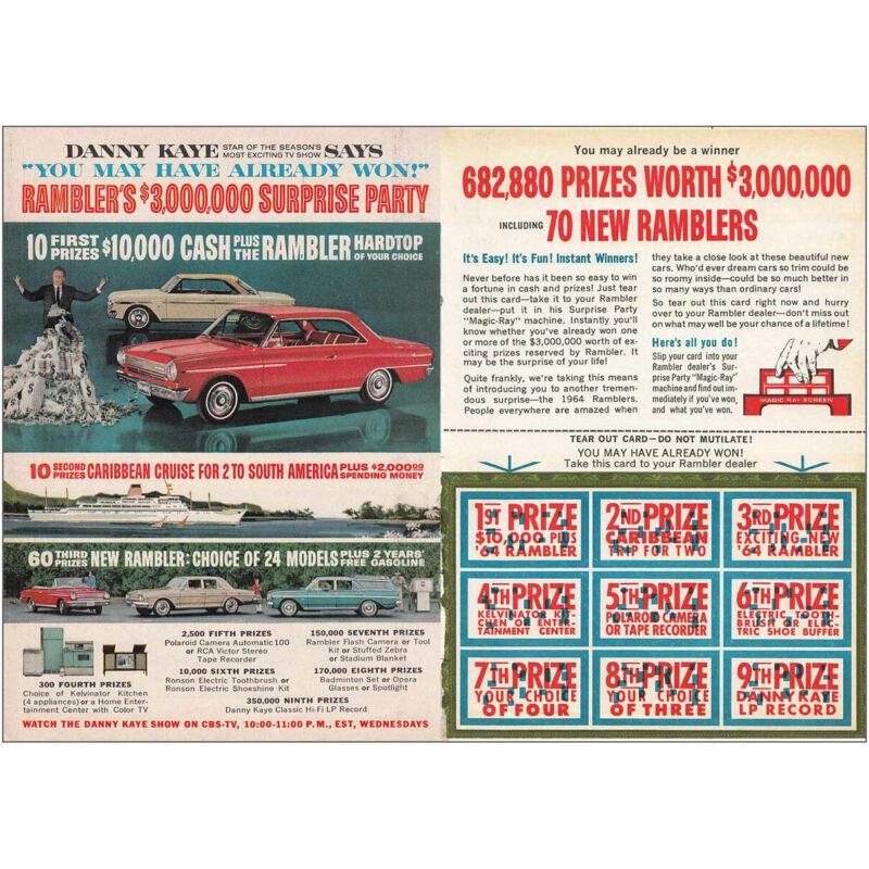1964 Rambler: Ramblers 3000000 Surprise Party Danny Kaye Vintage Print Ad